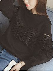 Autumn Spring  Cotton  Women  Round Neck  Tassel  Plain Long Sleeve T-Shirts