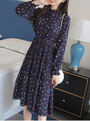 Crew Neck  Decorative Button  Floral Skater Dress