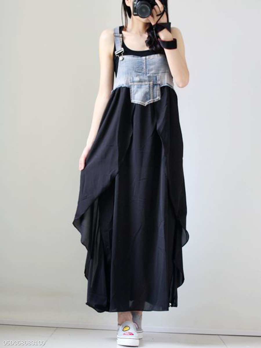 Spaghetti Strap  Patch Pocket Patchwork Maxi Dress
