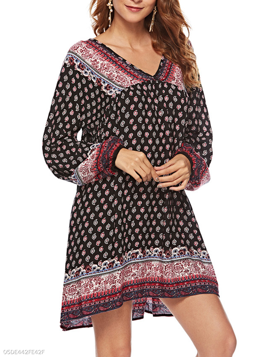 V-Neck  Printed Casual Puff Sleeve Shift Dress