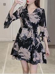 V-Neck-Belt-Floral-Printed-Chiffon-Bell-Sleeve-Skater-Dress
