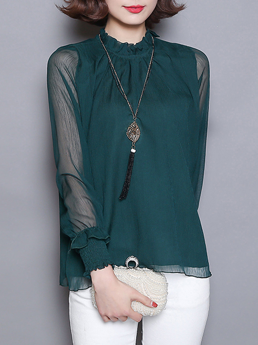 Band Collar See-Through Plain Long Sleeve T-Shirt