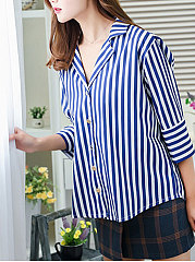 Spring Summer  Cotton  Women  Turn Down Collar  Striped  Three-Quarter Sleeve Blouses
