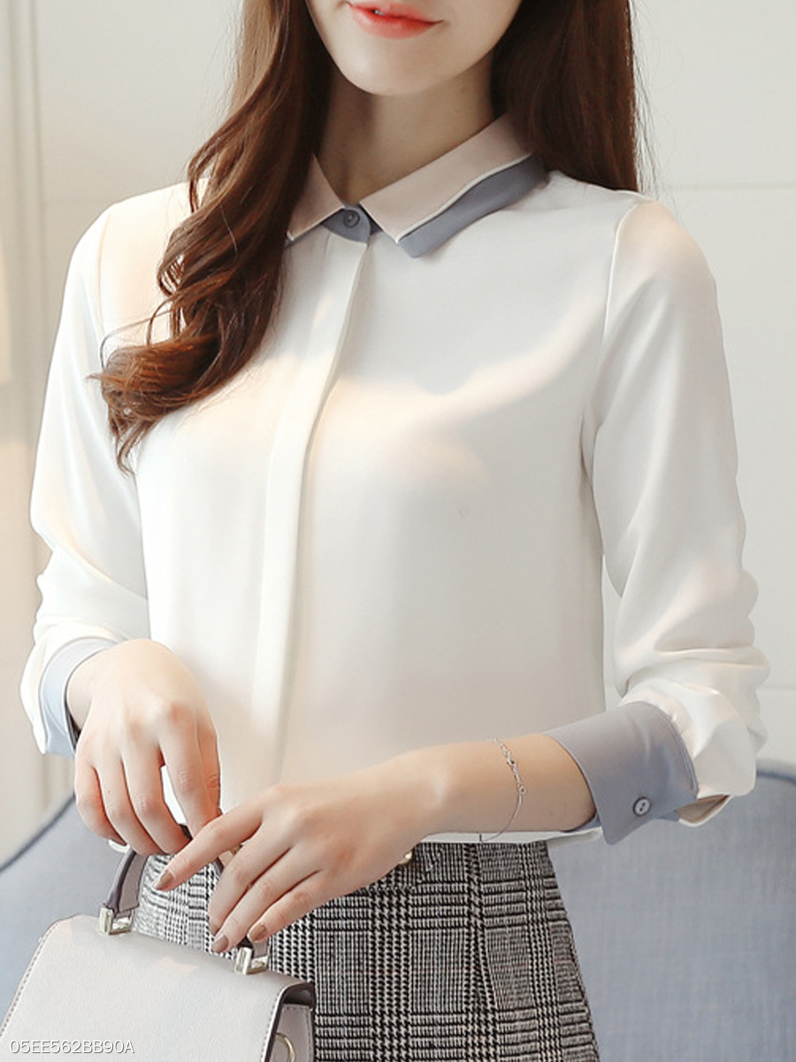 Autumn Spring  Women  Turn Down Collar  Patchwork  Plain  Long Sleeve Blouses