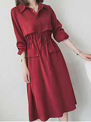 Turn-Down-Collar-Drawstring-Storm-Flap-Plain-Polyester-Maxi-Dress