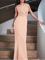 Round Neck Back Hole Glitter Plain Mermaid Evening Dress