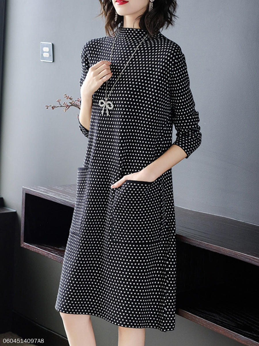 Round Neck  Houndstooth Shift Dress