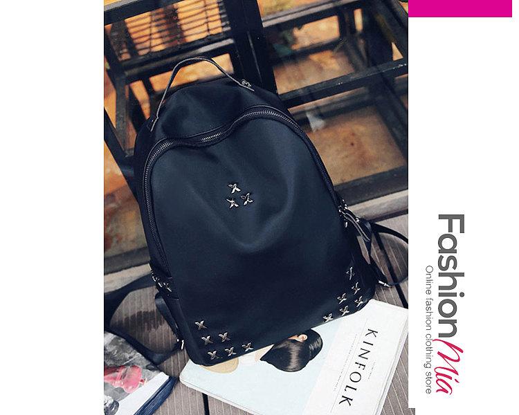 Women Nylon Rivet Chic Black Backpack