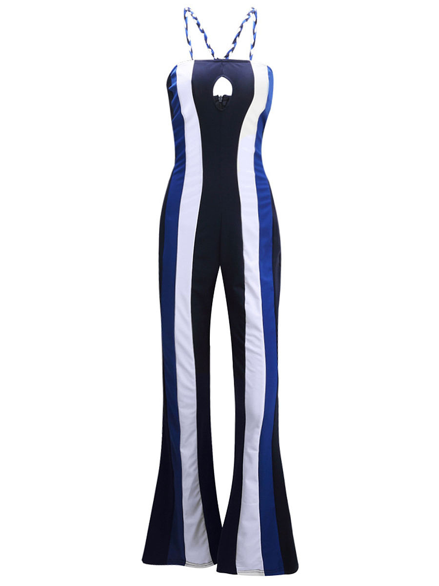 Spaghetti Strap Keyhole Vertical Striped Flared Jumpsuit