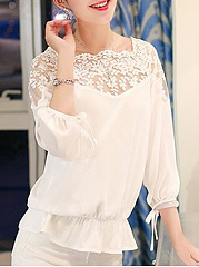Autumn Spring  Polyester  Women  Round Neck  Decorative Lace See-Through  Plain  Long Sleeve Blouses