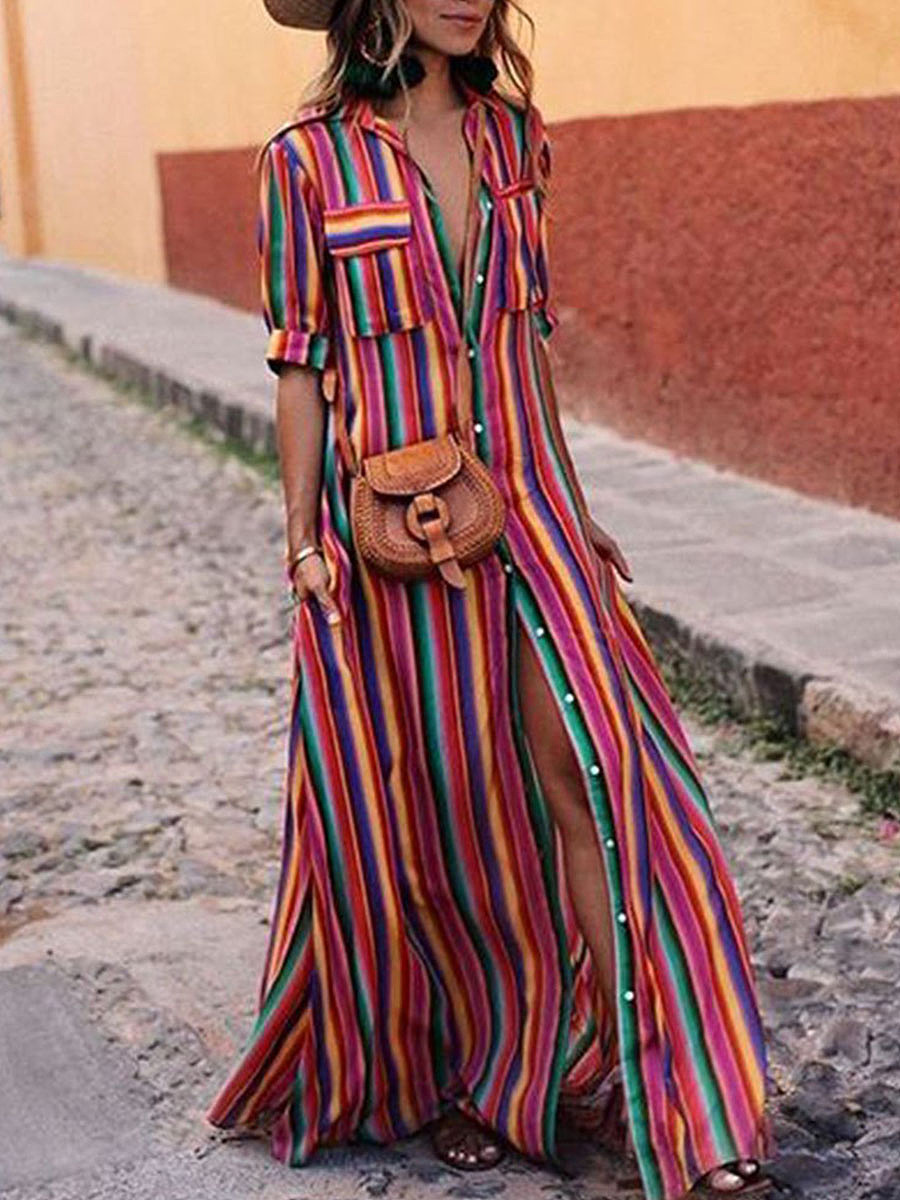 https://www.fashionmia.com/Products/button-down-collar-stripes-roll-up-sleeve-half-sleeve-maxi-dresses-215006.html