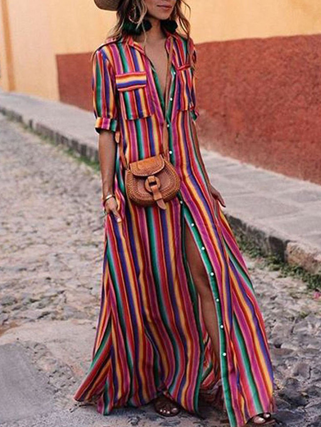 Image of Fashionmia Button Down Collar Stripes Roll Up Sleeve Half Sleeve Maxi Dresses