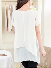Solid Asymmetric Hem Chiffon Short Sleeve T-Shirt