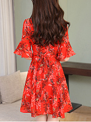Bell Sleeve V-Neck Chiffon Printed Skater Dress