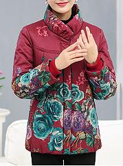 High-Neck-Floral-Printed-Pocket-Padded-Coat