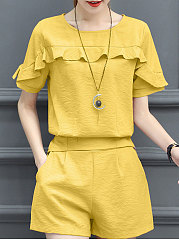 Summer  Polyester  Women  Round Neck  Flounce  Plain  Short Sleeve Blouses And Shorts