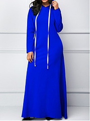 Hooded  Kangaroo Pocket  Plain Maxi Dress