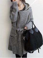 Hooded-Flap-Pocket-Belt-Plain-Rib-Knit-Wrap-Coat