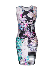 Sleeveless-Floral-Striped-Printed-Mini-Bodycon-Dress