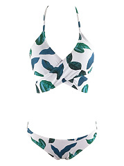 Leaf Print Wrap Bikini Top And Bottoms