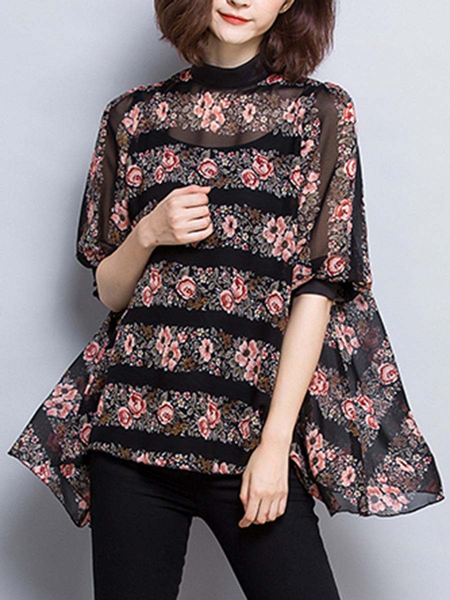 Oversized Band Collar Floral Hollow Out Blouse