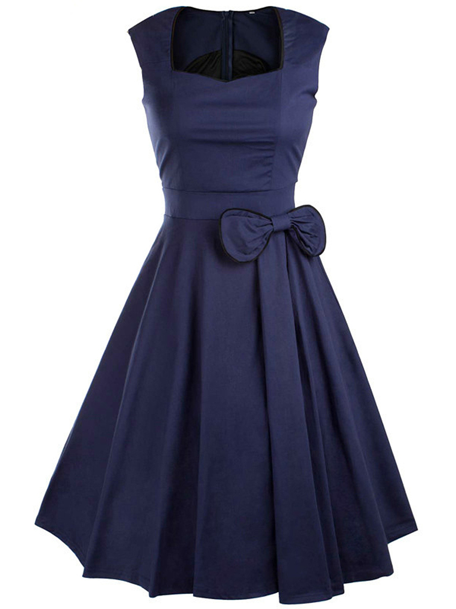 Sweet Heart Bowknot Contrast Trim Midi Skater Dress