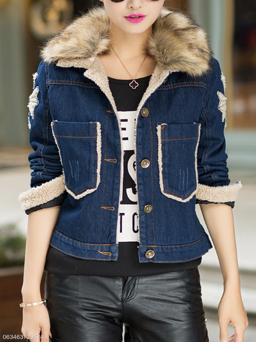Faux Fur Collar Denim Fleece Lined Patch Pocket Jacket