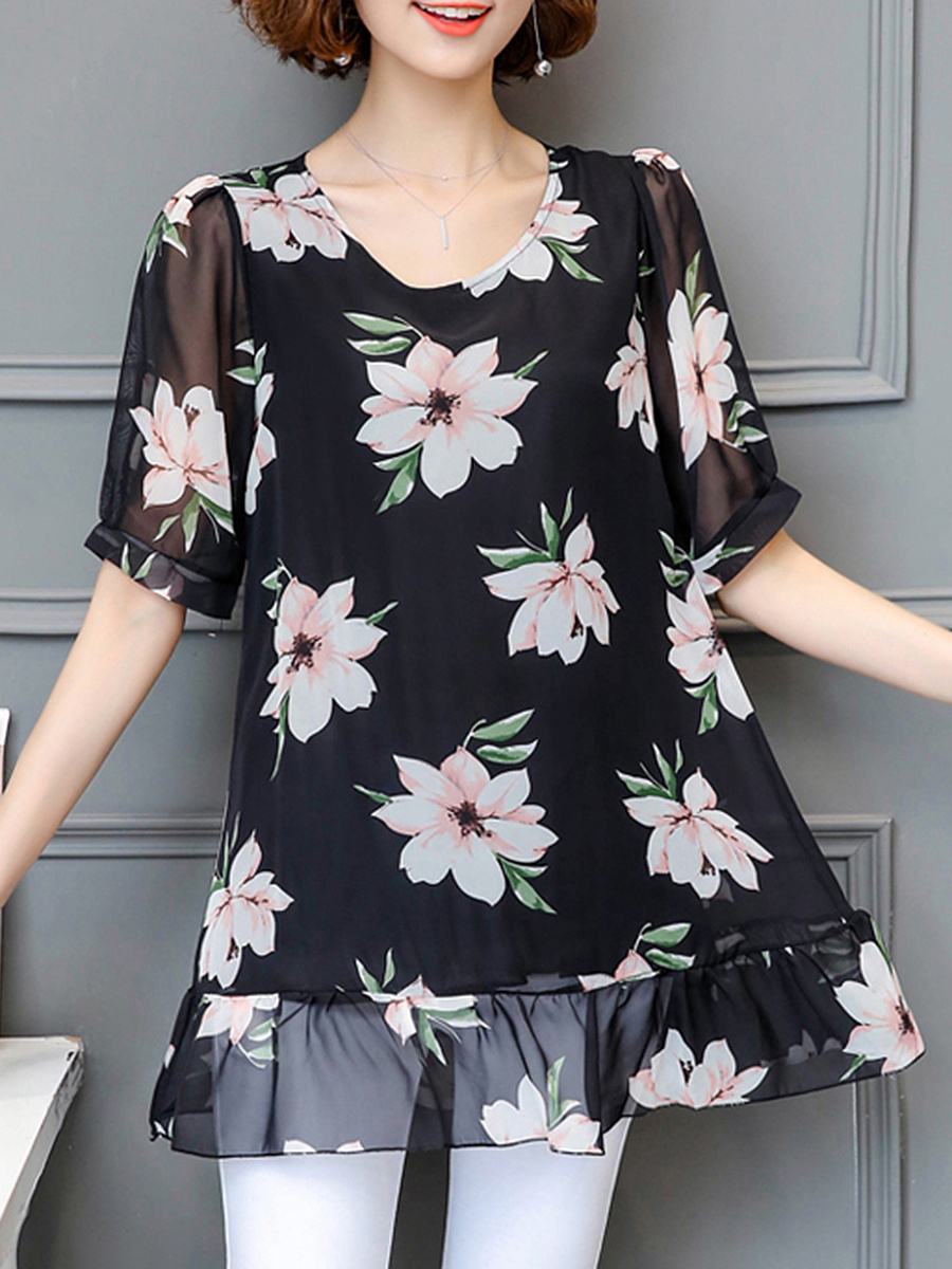 Round Neck Ruffled Hem Floral Hollow Out Blouse