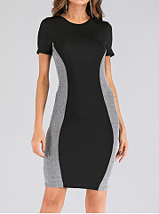 Round Neck  Patchwork  Colouring Bodycon Dress