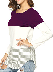 Round Neck  Patchwork  Stripes Long Sleeve T-Shirts