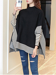 High-Neck-Side-Vented-Striped-Knitted-Cape