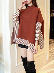 High Neck Side-Vented Striped Knitted Cape