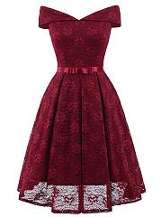 Off-Shoulder-Bowknot-Plain-Maxi-Dress