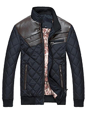 Men High Neck Patchwork Quilted Color Block Padded Coat