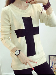 Round Neck  Color Block  Long Sleeve Knit Sweaters Pullover