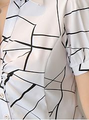 Spring Summer  Cotton  Women  Turn Down Collar  Geometric  Short Sleeve Blouses