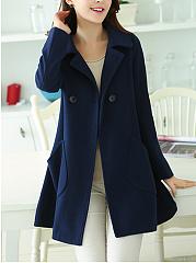Lapel-Double-Breasted-Patch-Pocket-Plain-Woolen-Coat