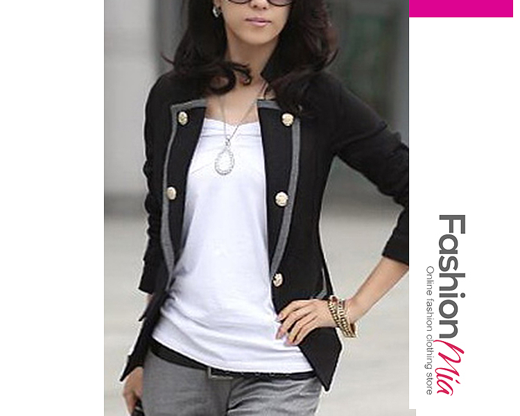 gender:women, hooded:no, thickness:regular, brand_name:fashionmia, outerwear_type:blazer, style:office outfit, material:blend, collar&neckline:lapel, sleeve:long sleeve, embellishment:contrast trim, pattern_type:plain, occasion:office, season:autumn,spring, package_included:top*1, lengthshouldersleeve lengthbust