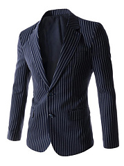 Notch Lapel Vertical Striped Men Blazer
