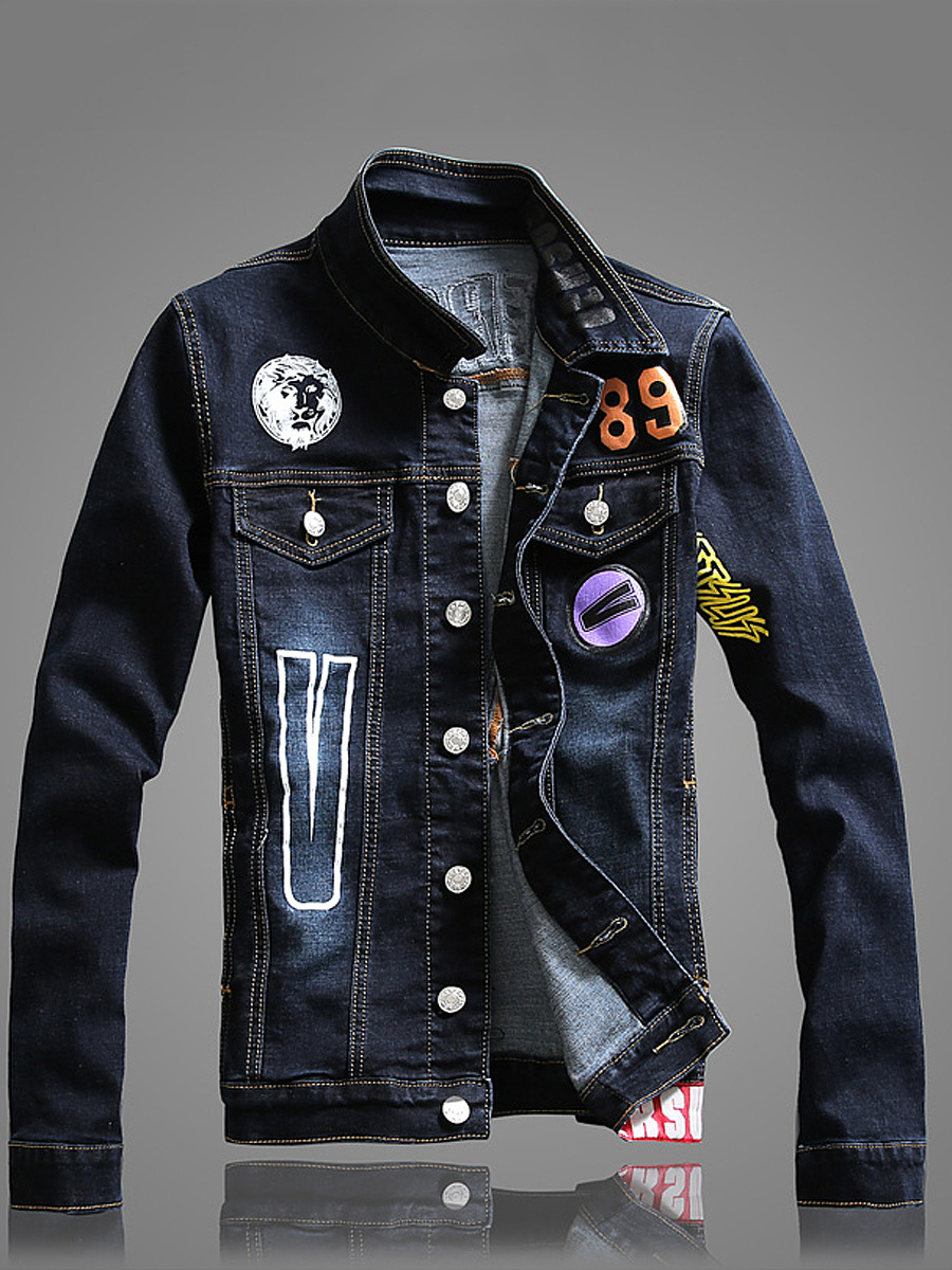 Stylish Denim Letters Light Wash Men Jacket