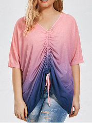 V-Neck  Asymmetric Hem Ruched  Color Block  Short Sleeve Plus Size Blouse