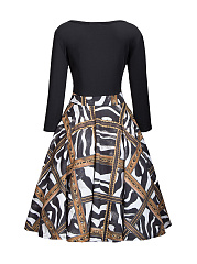 Glamorous Round Neck Printed Plus Size Flared Dress