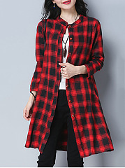 Button-Down-Collar-Single-Breasted-Checkered-Blouses