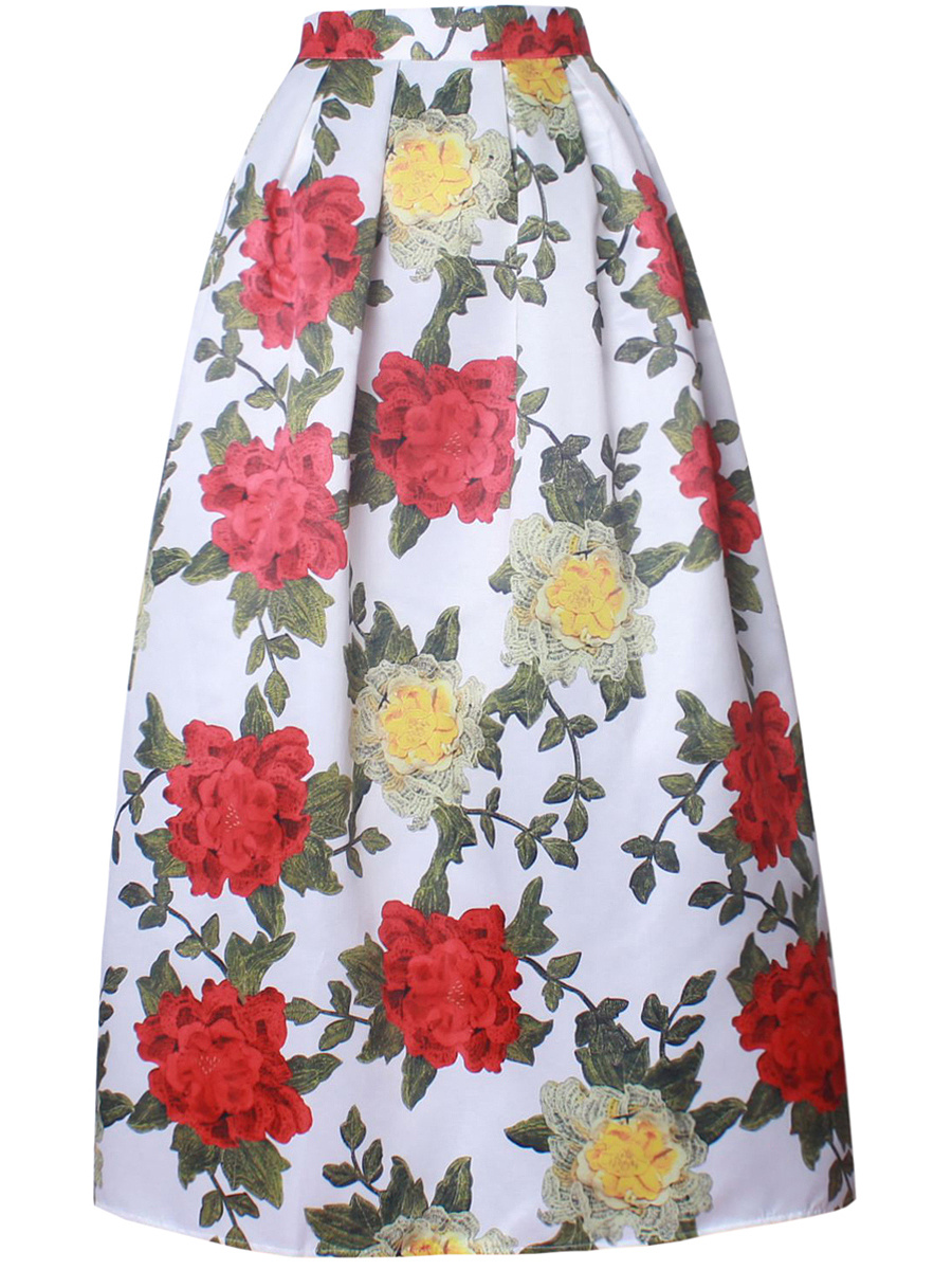 Absorbing Floral Printed Elastic Waist Flared Maxi Skirt