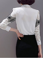 Autumn Spring  Polyester  Women  V-Neck  Decorative Lace Patchwork  Decorative Button  Long Sleeve Blouses