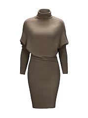 Modern-Turtleneck-Plain-Batwing-Bodycon-Dress