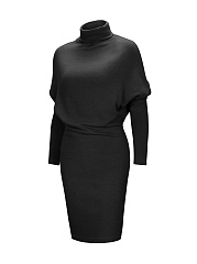 Modern Turtleneck Plain Batwing Bodycon Dress