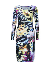 Retro Round Neck Printed Long Sleeve Pencil Dress