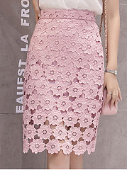 Floral Lace Plain  Pencil Knee-Length Skirts For Women