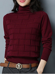 Turtle Neck  Checkered Knit Pullover